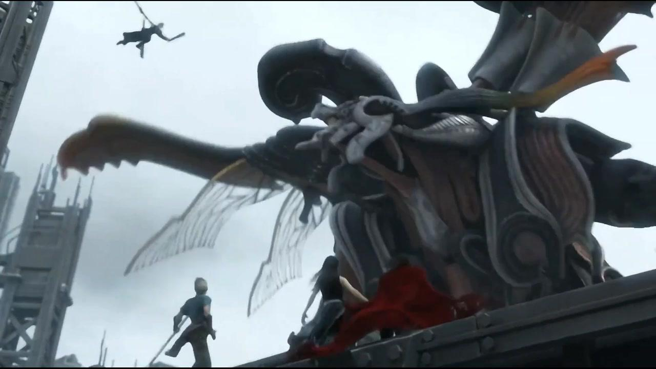 最终幻想7:卡达裘招出巨型怪兽,战士们再次齐聚合力消灭怪兽