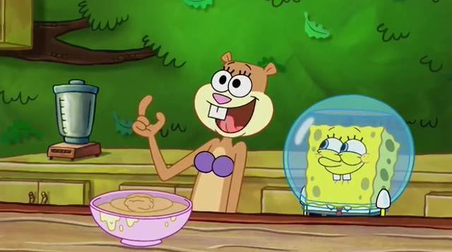在大师的指引下,珊迪做出了坚果奶油,分给大家享用
