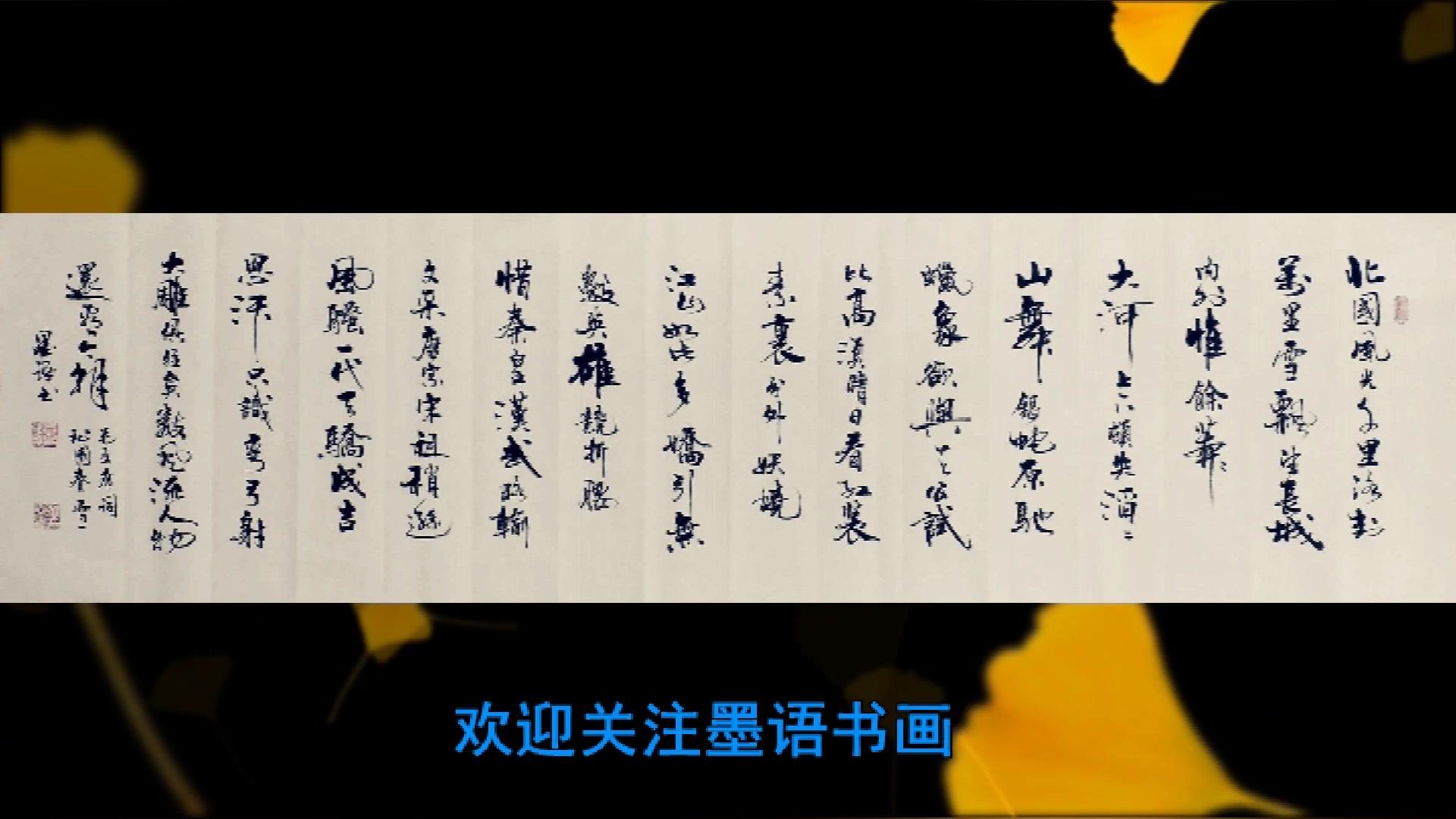 书法欣赏,毛主席词《沁园春·雪》,大气潇洒,堪称精品佳作!