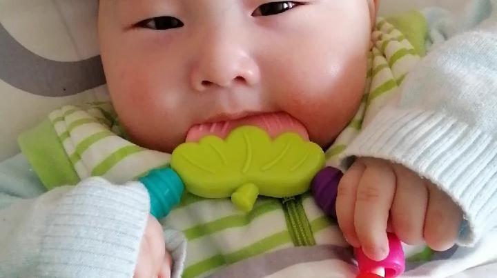 宝宝五个月了,会自己吃草莓了。