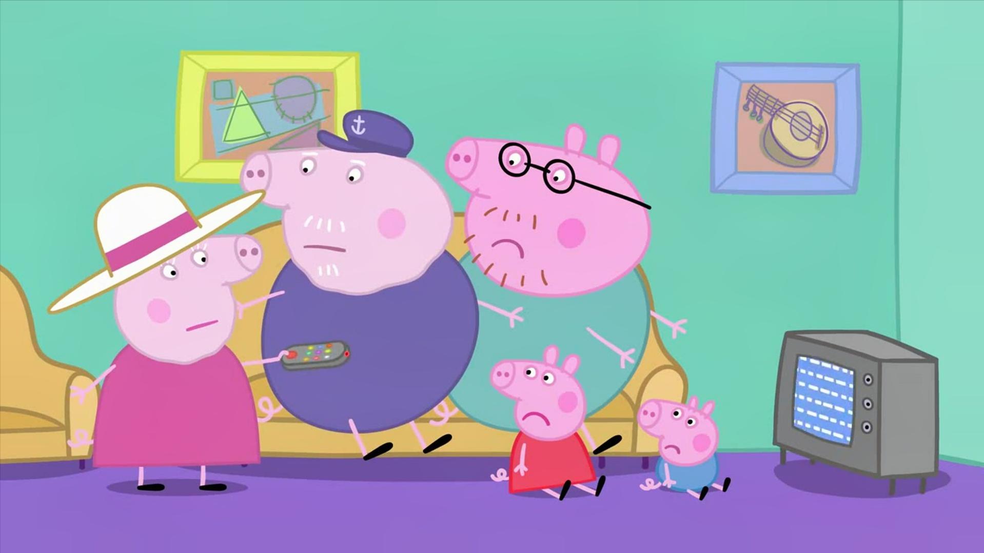 小猪佩奇:猪爷爷怎么了,和佩奇看比赛,却把猪奶奶给怼了!