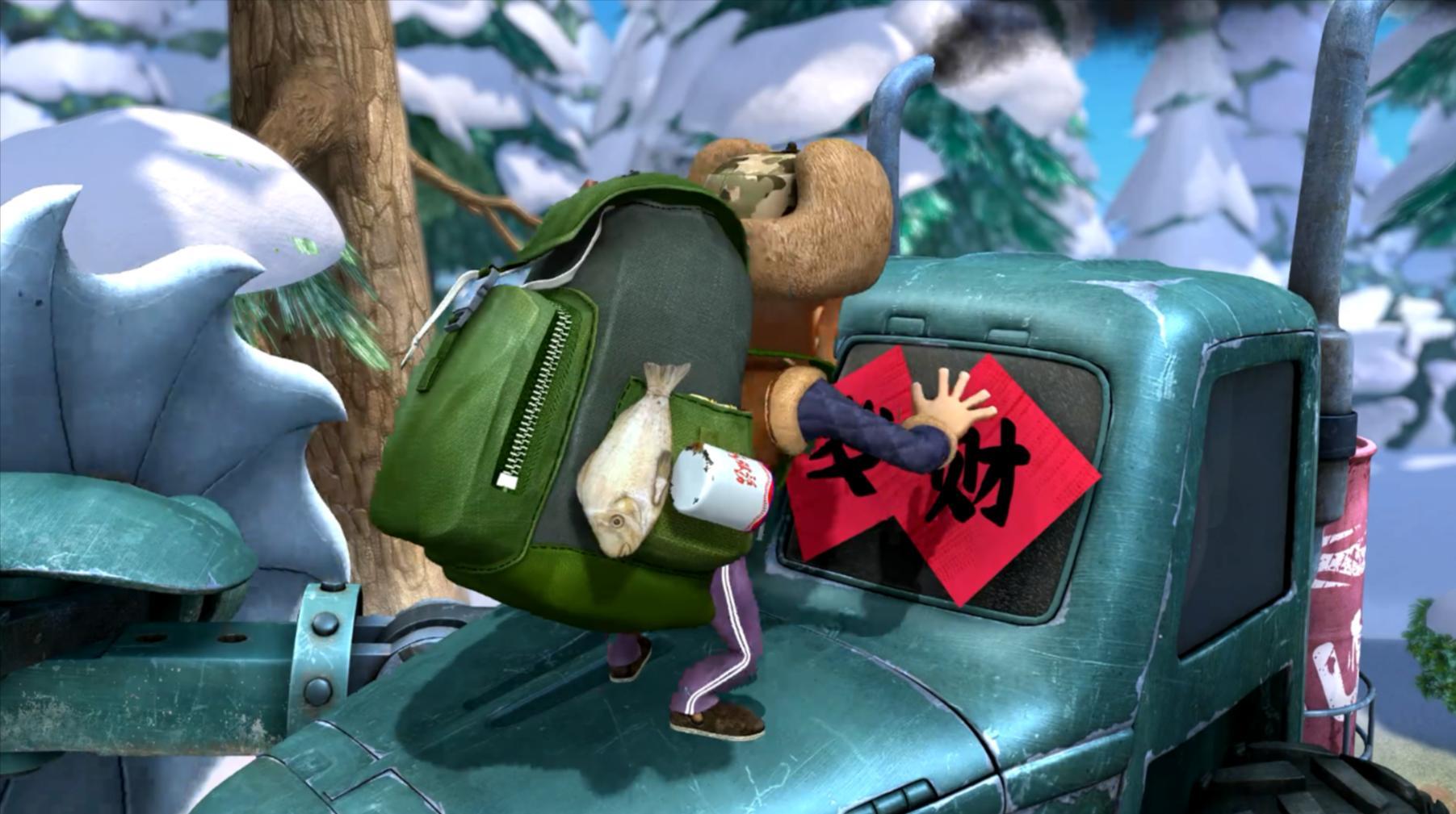 熊出没:强哥为了保护森林,他连年货都不要了,用年货和机器作战