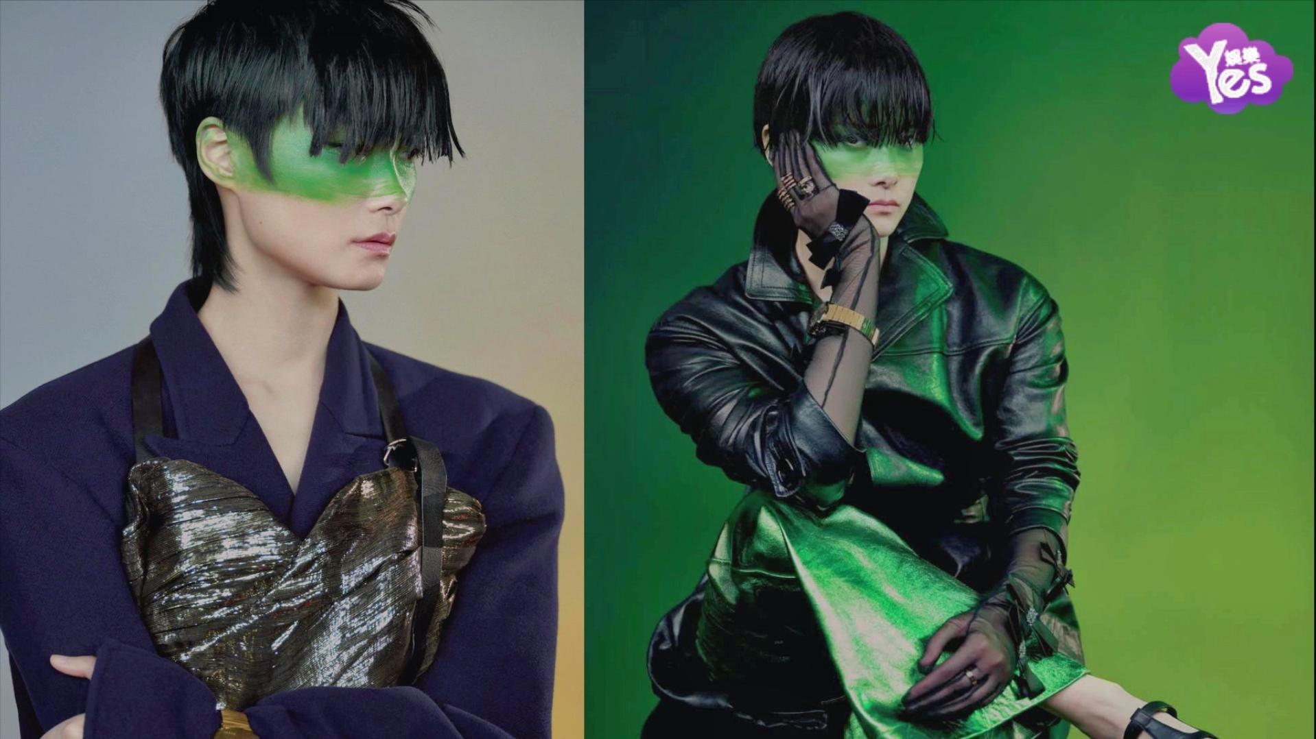 李宇春绿色彩绘挑战暗黑造型 哥特式红绿反色碰撞独有风格