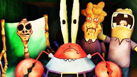 屌德斯解说 蟹老板的巧克力 海绵宝宝被一对诡异的母女吓飞!