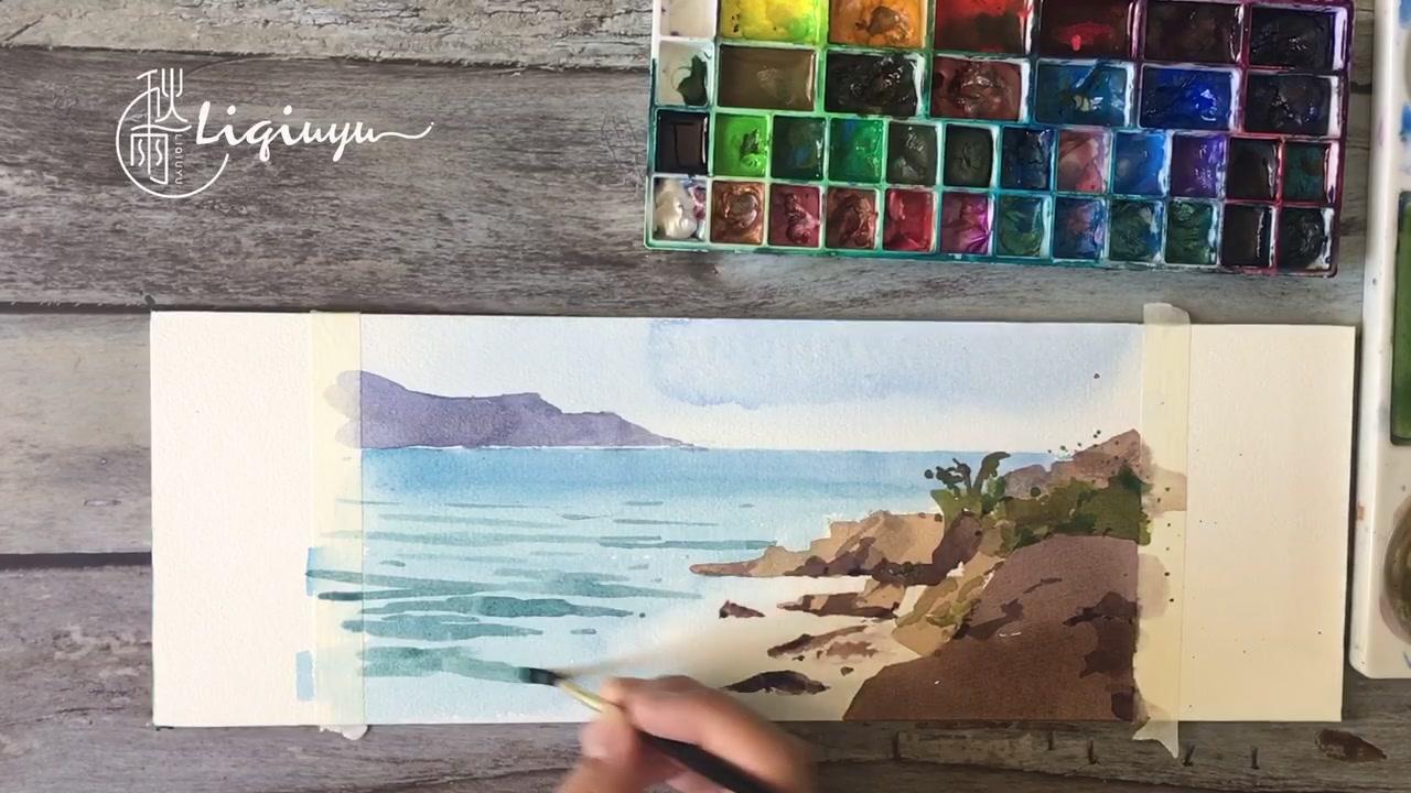 清新透亮的水彩海景怎么画?别怕!其实海景很简单#水彩风景